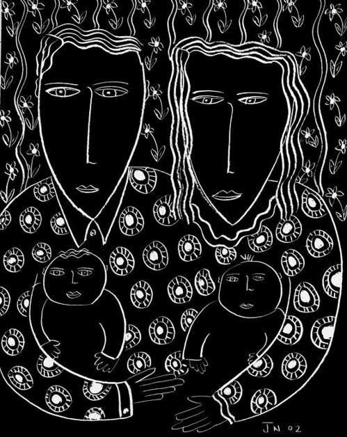 Mum And Dad Holding Children Scraperboard Print By Julie Nicholls