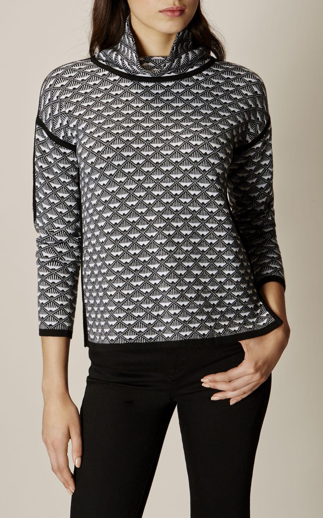 MillenGeo Jumper Pattern Luxury Blackamp; WhiteFashion Karen doerBxC