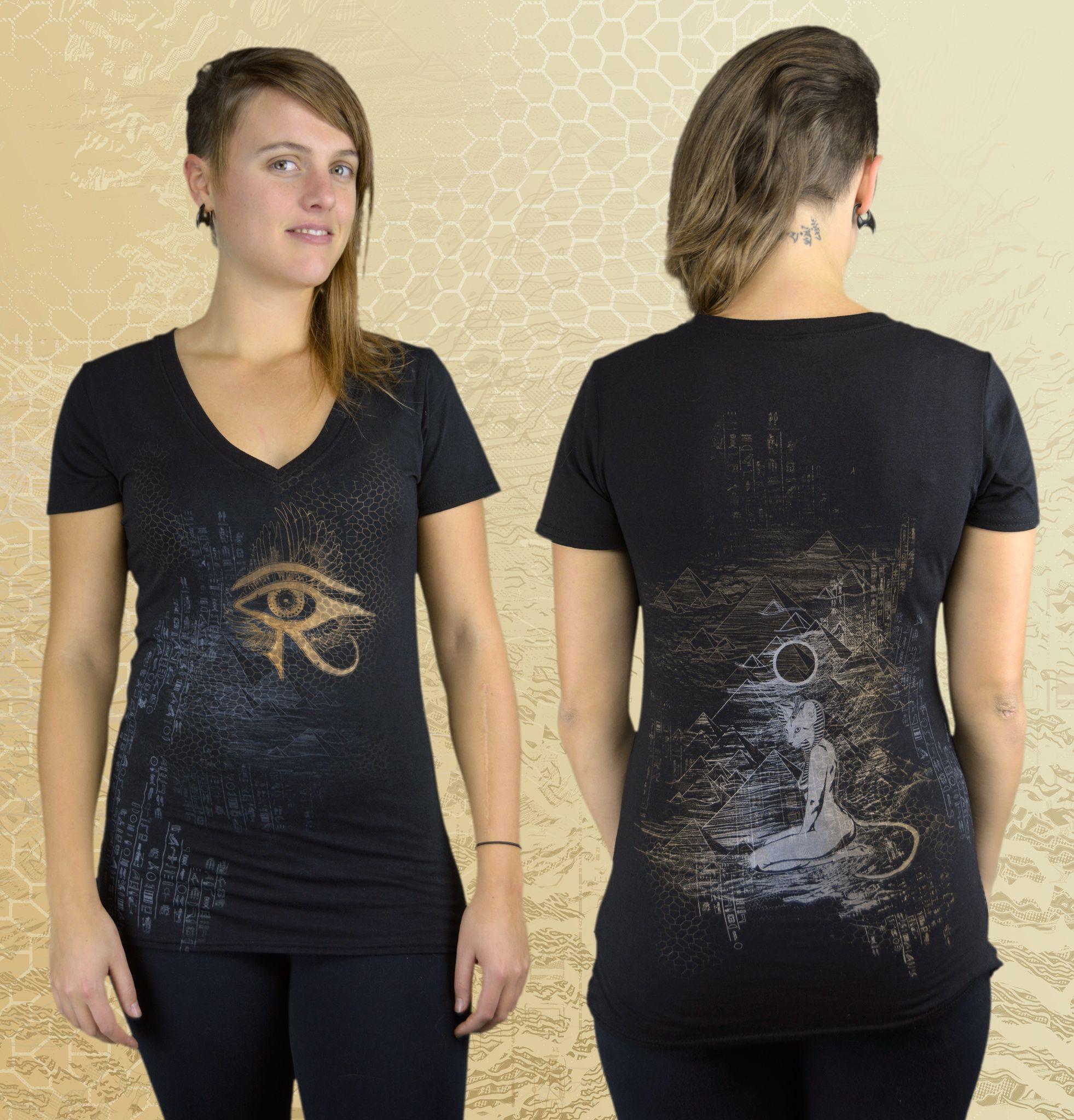 """""""Bastet"""" Bamboo T-shirt by Inkspoon.  Eye of Ra, Eye of Horus, Egyptian Mythology, Bastet Goddess, Pyramids."""