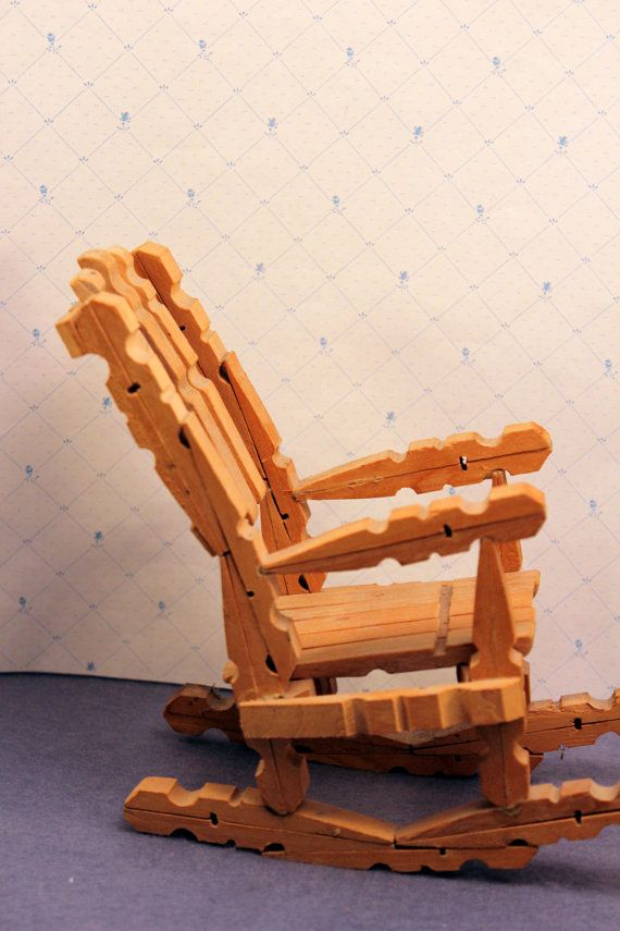 Vintage Clothespin Doll Rocking Chair Toy By