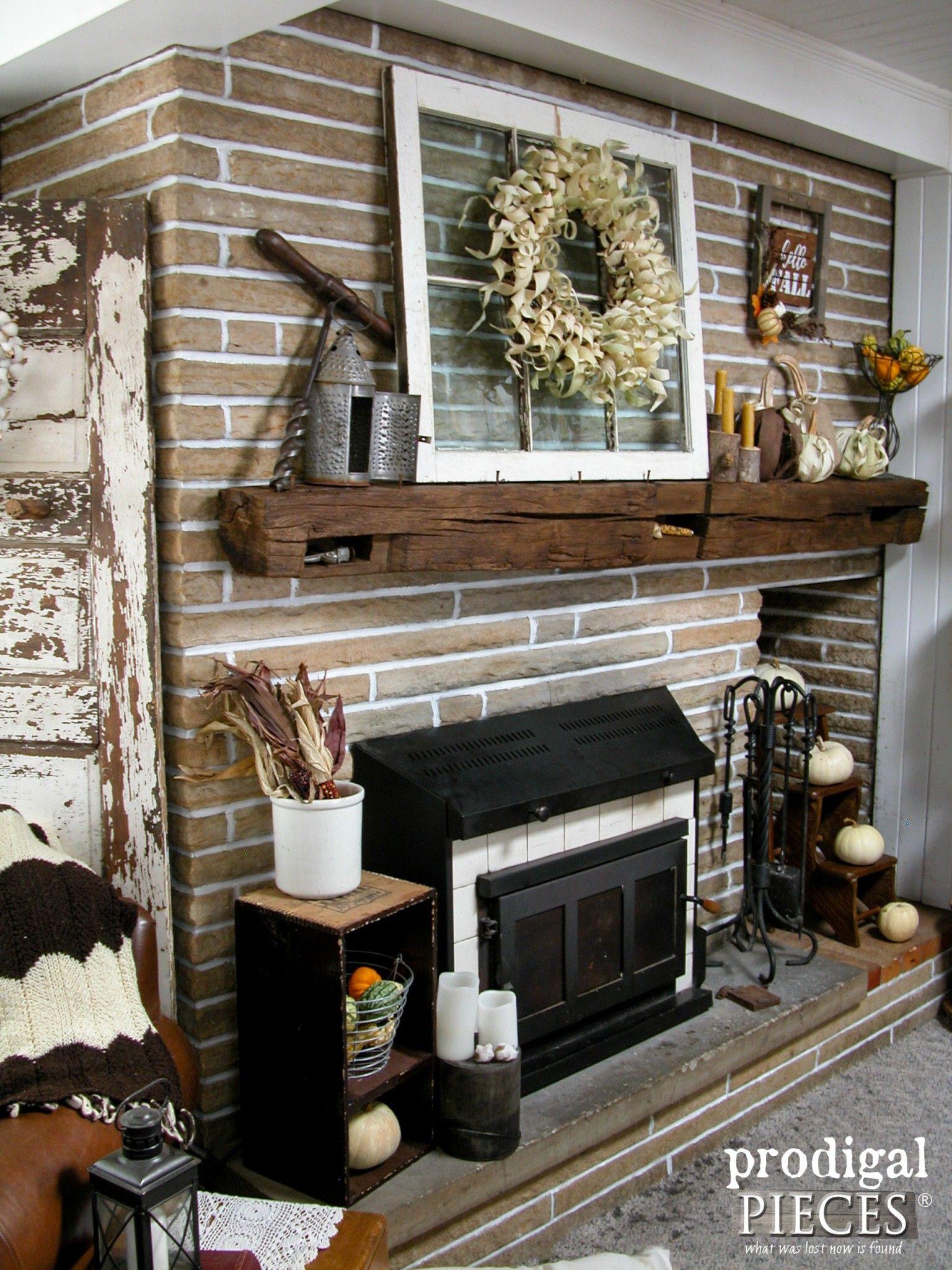Corn Husk Pumpkins Wreath Fireplace Makeover