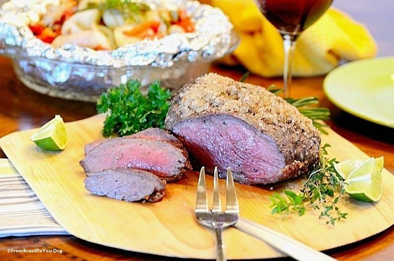 Picanha top sirloin cap with papillote vegetables