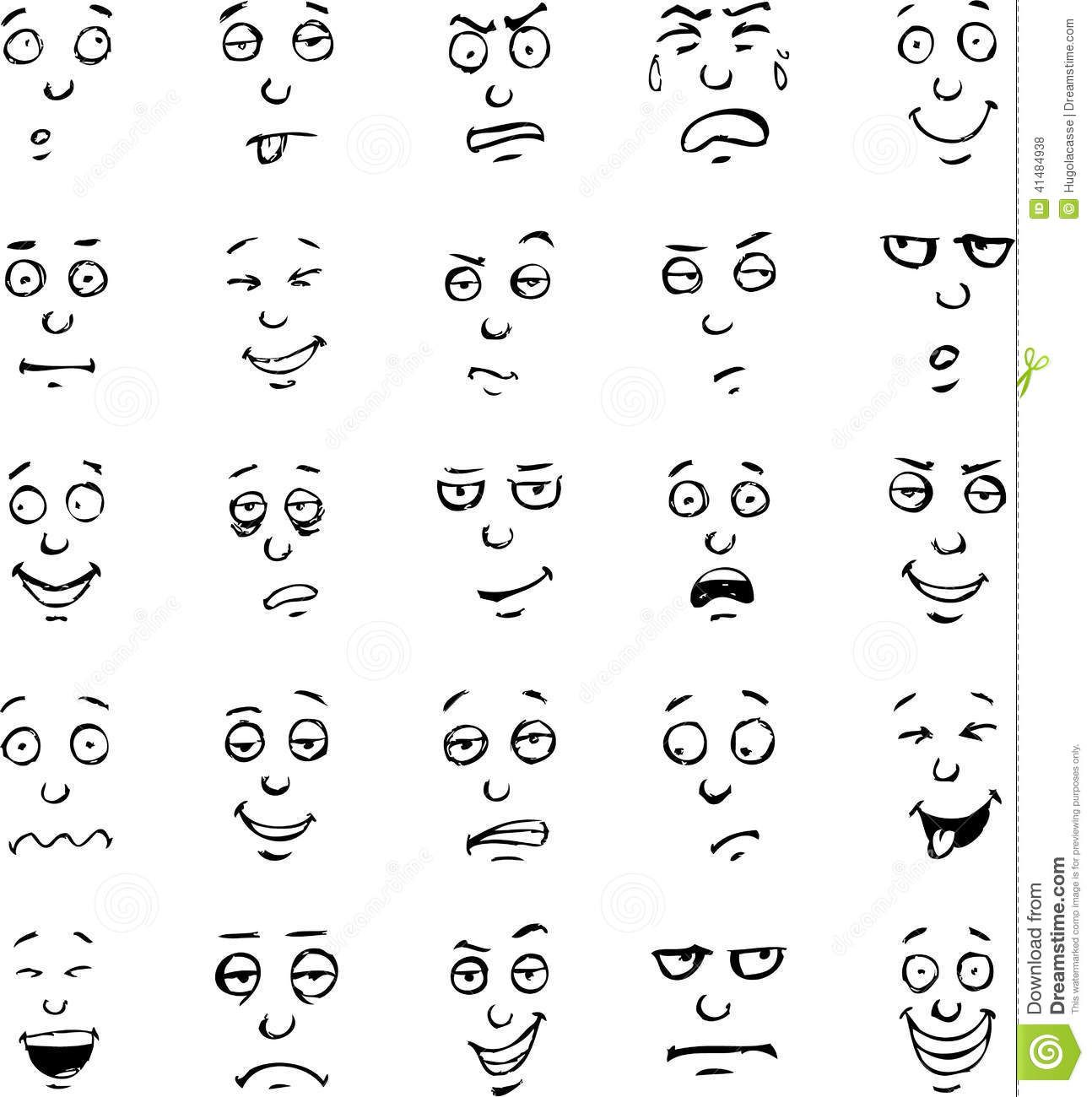 Cartoonfaceemotionshanddrawnsetvector41484938g (1294�1300) Bullet Journal  Pinterest Cartoon, Faces And Searches Learn How How To Draw A Zombie