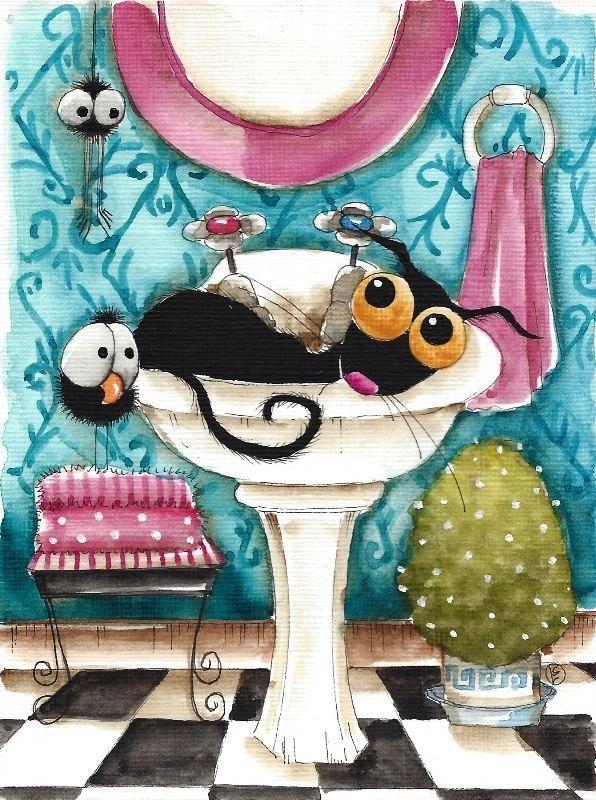 Original watercolor painting art whimsical Stressie Cat bird bathroom spider #Folkartillustration
