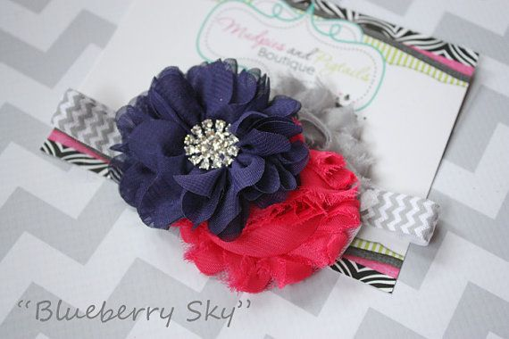 baby headband Blueberry Sky Navy hot pink by MudpiesandPigtails, $12.95