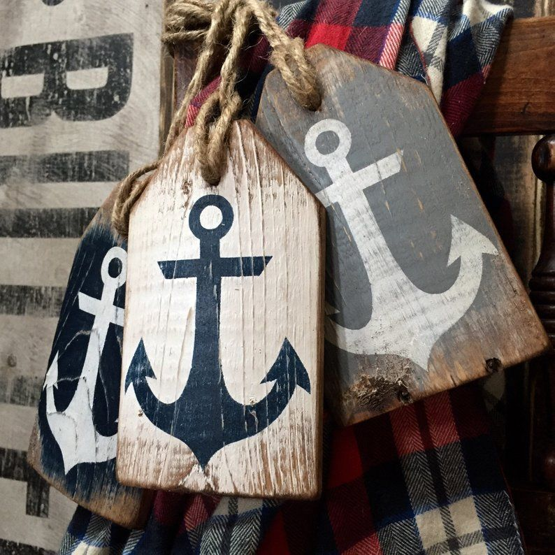 Photo of Items similar to Anchor Tag Set Nautical Decor Wood Anchor Sign Nautical Sign Art Beach Decor Rustic Distressed Ahoy Sign Sailing Coastal Decor on Etsy