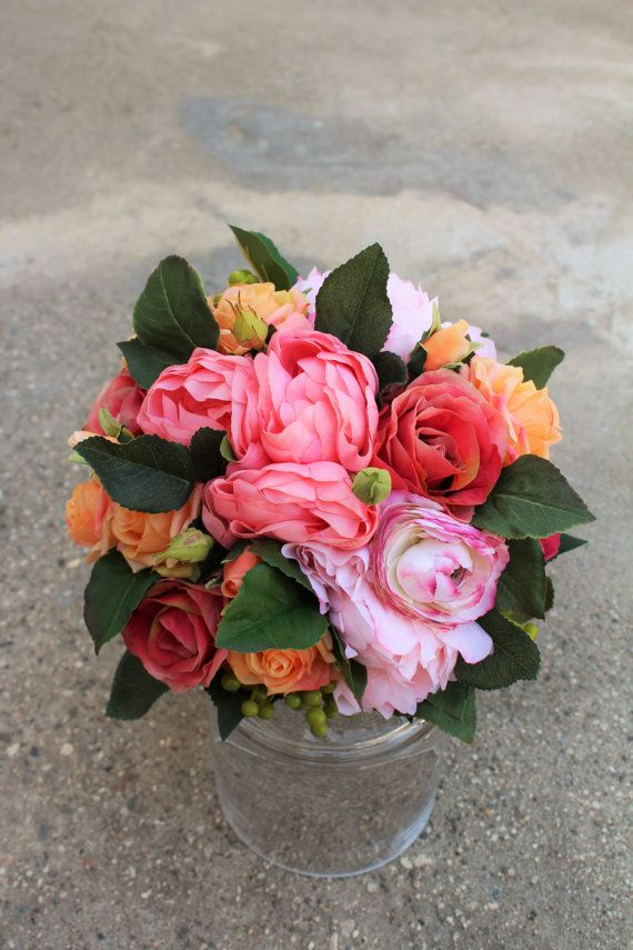 Coral orange and pink color silk flower bouquet used peony rose coral orange and pink color silk flower bouquet used peony rose ranunculus mightylinksfo