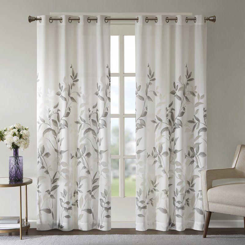 Trent Floral Flower Semi Sheer Grommet Single Curtain Panel