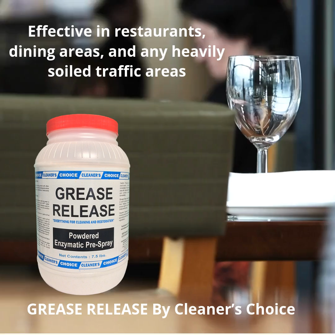 GREASE RELEASE is a concentrated pre-spray with an enzymatic formula designed to clean extra dirty carpet. It is particularly effective in restaurants, dining areas, and any heavily soiled traffic areas  Use code INSTA10 for 10% off your next purchase at TheCleanersDepot.com (up to $50 off)  #CarpetCleaners #CarpetCleaning #TileCleaning #GroutCleaning #CarpetAndFloorCare #FloorCleaners #RugCleaning #SteamCleaning #Restoration #Remediation #WaterDamageRestoration #DryOut #Floods #OdorControl