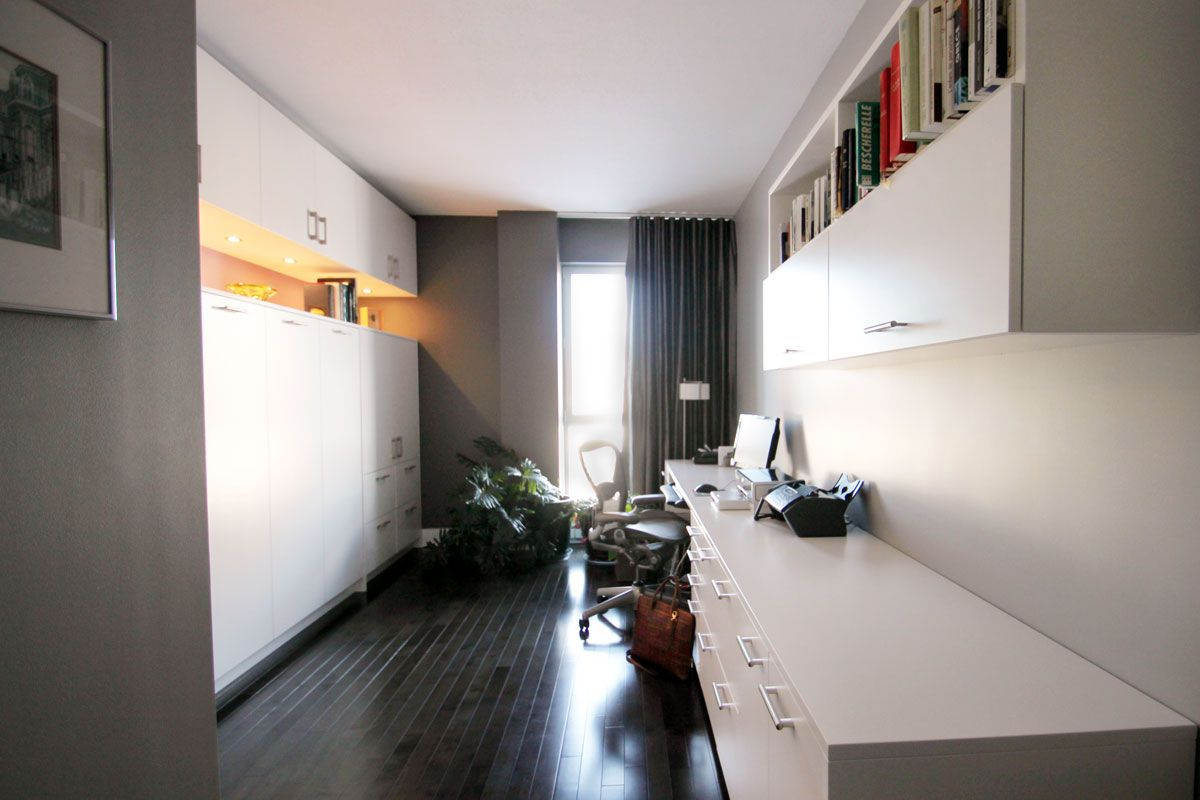 Bureau lit escamotable rangement éclairage intégré condo