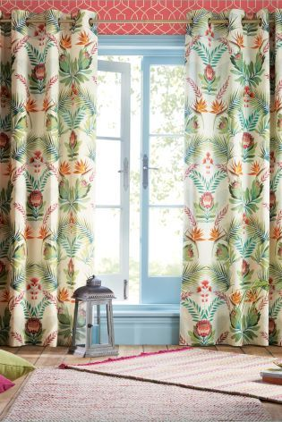 Buy Tropical Floral Mirror Print Eyelet Curtains From The Next UK Online Shop