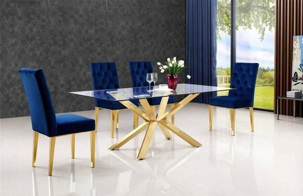 5 Piece Navy Dining Set Dining Table Gold Chrome Dining Table
