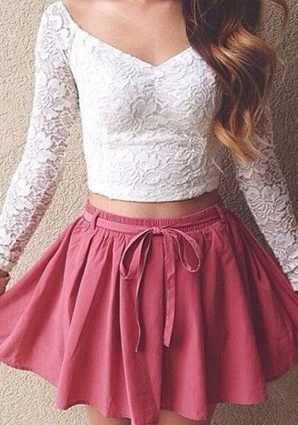 love the white lacey top and the style of this skirt, not crazy about the color