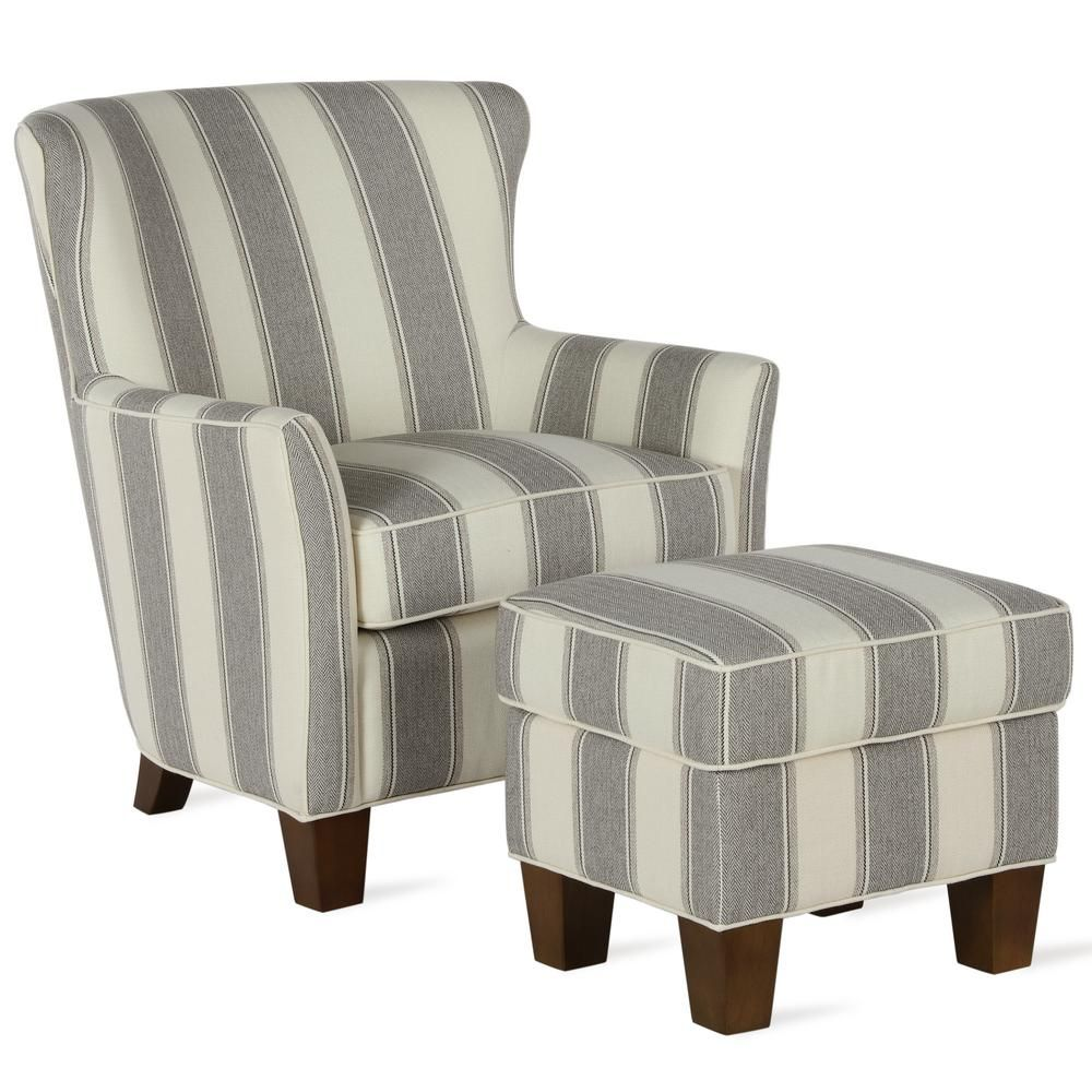 Dorel Living Pablo Gray Stripe Accent Chair Ottoman Set Fh8459set Gr The Home Depot In 2020 Chair And Ottoman Set Chair And Ottoman Stripe Accent Chair
