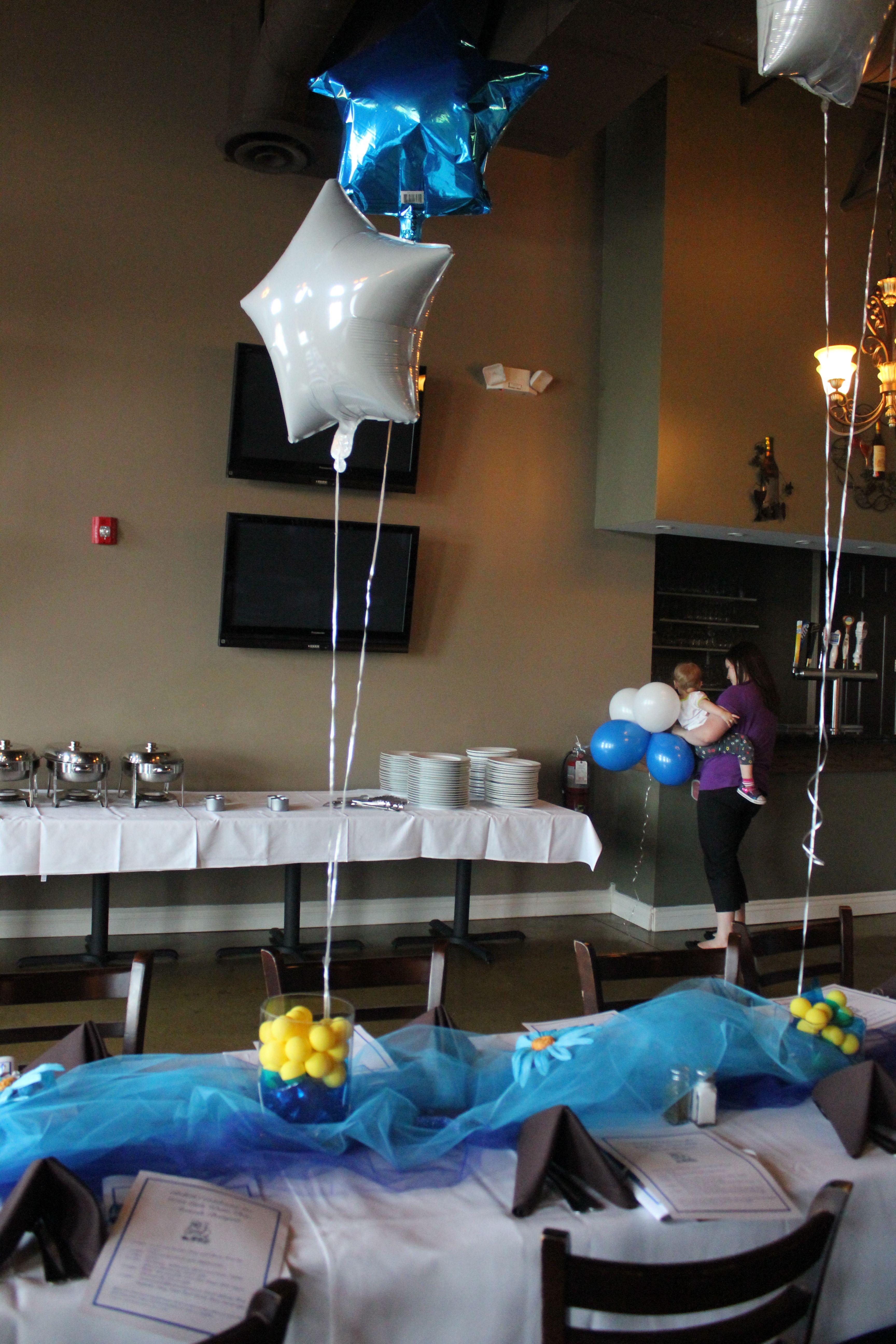 Table decor water polo banquet ideas pinterest