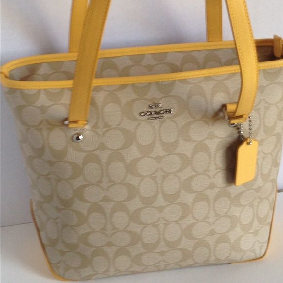 NWT Coach Signature Zip Top Tote Lt Khaki/Canary NWT | Beautiful ...