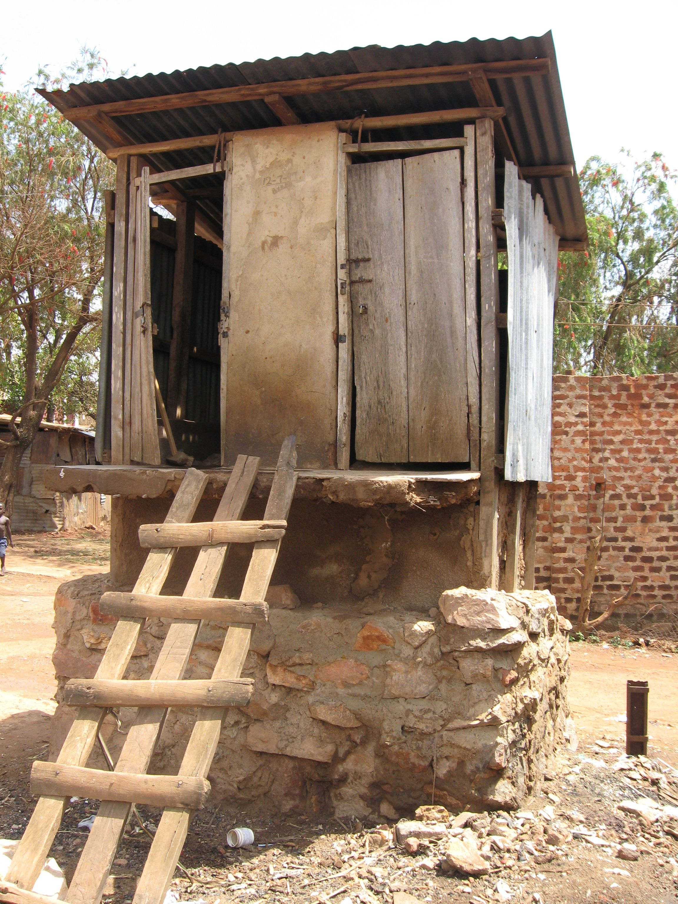 Pit Toilets Construction : This type of pit latrine is quite common in kampala slum