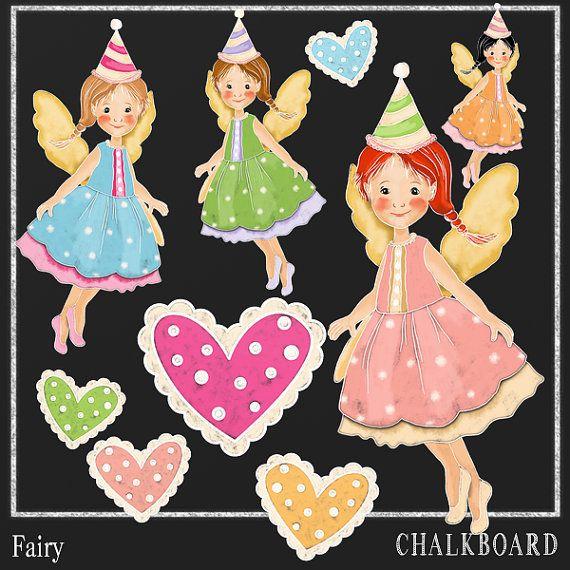 Chalkboard Clipart Fairy  Chalk Drawing-Card by DigitalPaperCraft