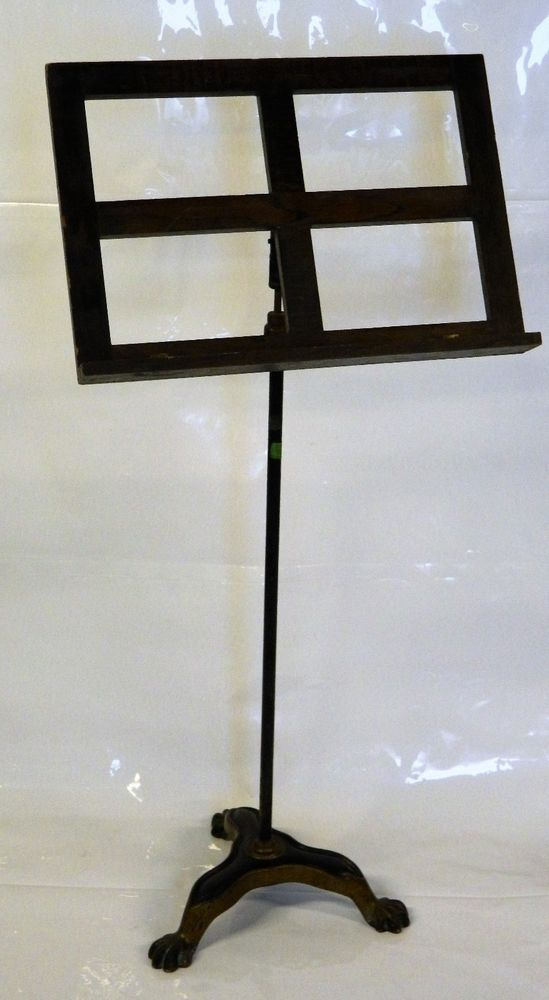 Antique Music Sheet Stand Cast Iron Claw Feet Base Wood