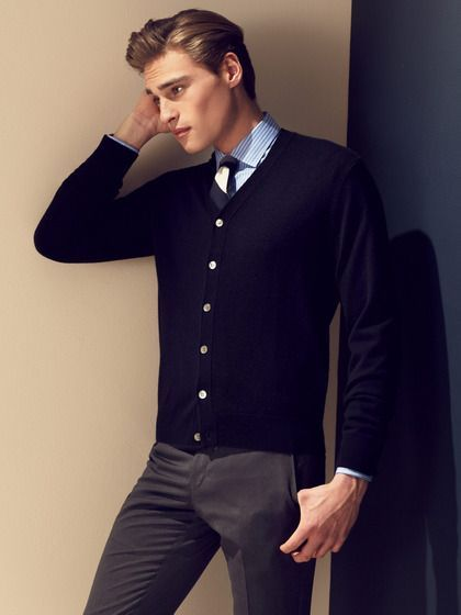 Mens Fashion Clic Navy Cardigan Over Oxford Tie With Dress Slack