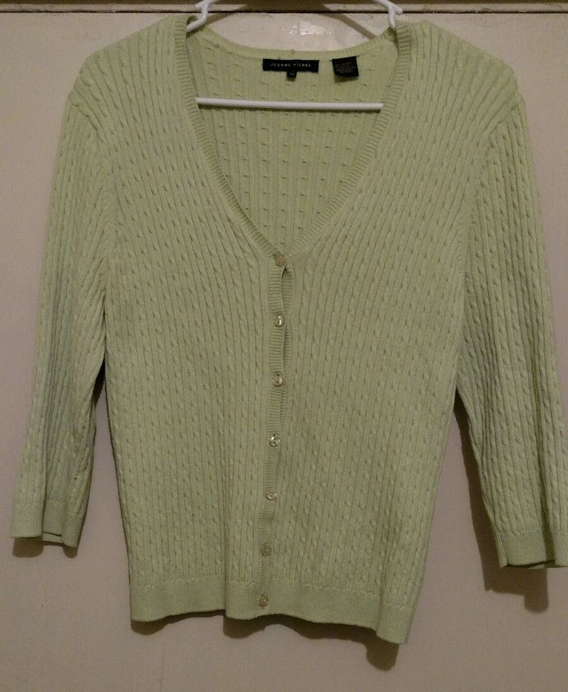 Details about Jeanne Pierre Light Green 3/4 Sleeve Cotton Blend ...