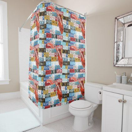 Florida State Of USA W License Plate Shower Curtain