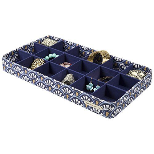 18 Section Jewelry Tray Drawer Organizer Storage Tray Navy