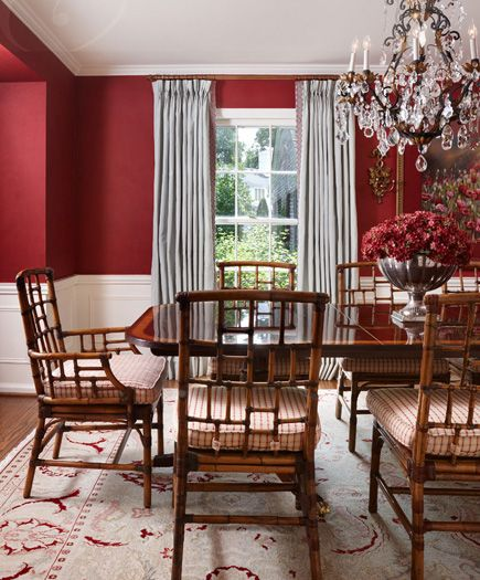 Ice Blue Silk Draperies Trimmed In Cranberry Pull The Colors Of This Fabulous Rug Up To Greet You Traditional Dining Rooms Classic Dining Room Red Dining Room