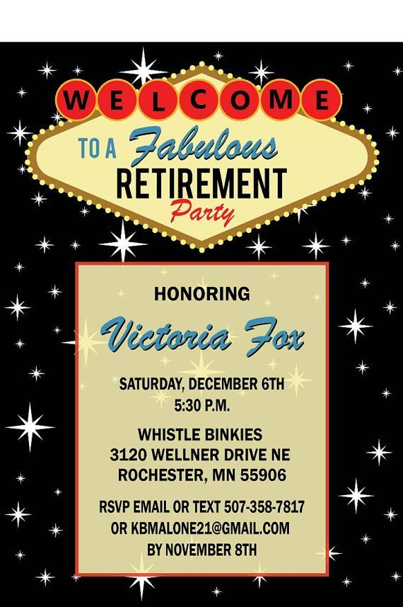 Retirement Party Vegas Invitations Free Printable  Google Search