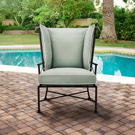 Santorini Outdoor Lounge Chair With Cushion In Sundial Spa