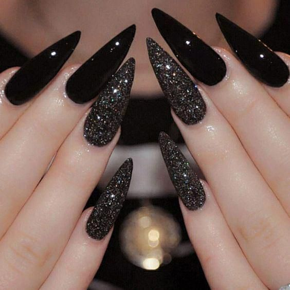 Best Black Stiletto Nails Designs For Your Halloween Black Nails