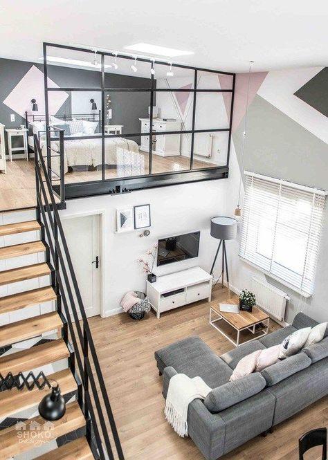 Scandi / Nordic split level studio apartment with gorgeous wooden
