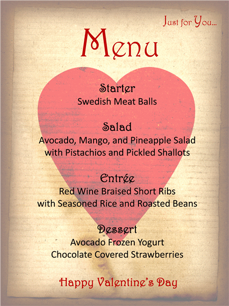 a menu template for your valentines day - Valentine Day Menu Ideas