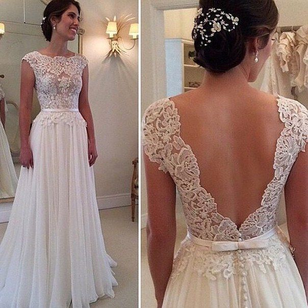 Elegant Lace Chiffon Beach Wedding Dress Sexy Open Back Bridal Gowns Custom Made