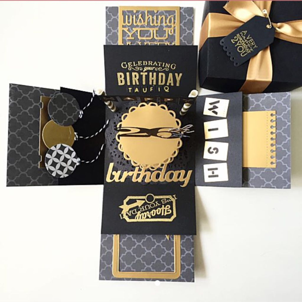 26th birthday explosion box card in gold and black
