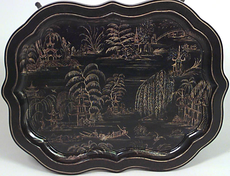 English Victorian table tray top table lacquer