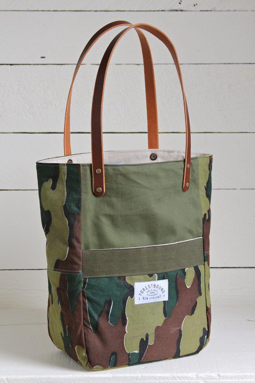 455b67247d54 WWII era Canvas   Camo Pocket Tote Bag