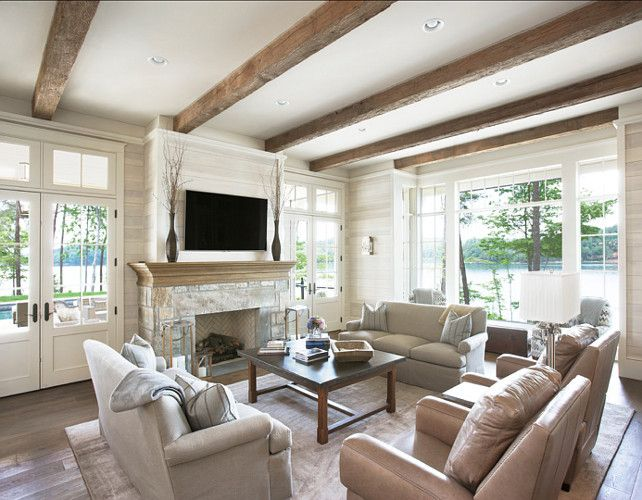 Lake House with Transitional Interiors