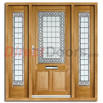 Creedmore Exterior Oak Door And Frame Set With Two Side Screens And