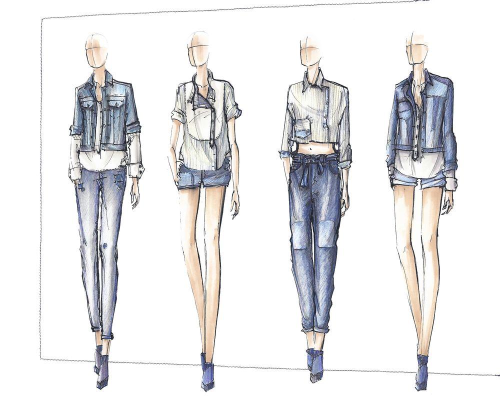 Denim sketches - Google Search | fashion | illustrations | Pinterest | Sketches Google search ...