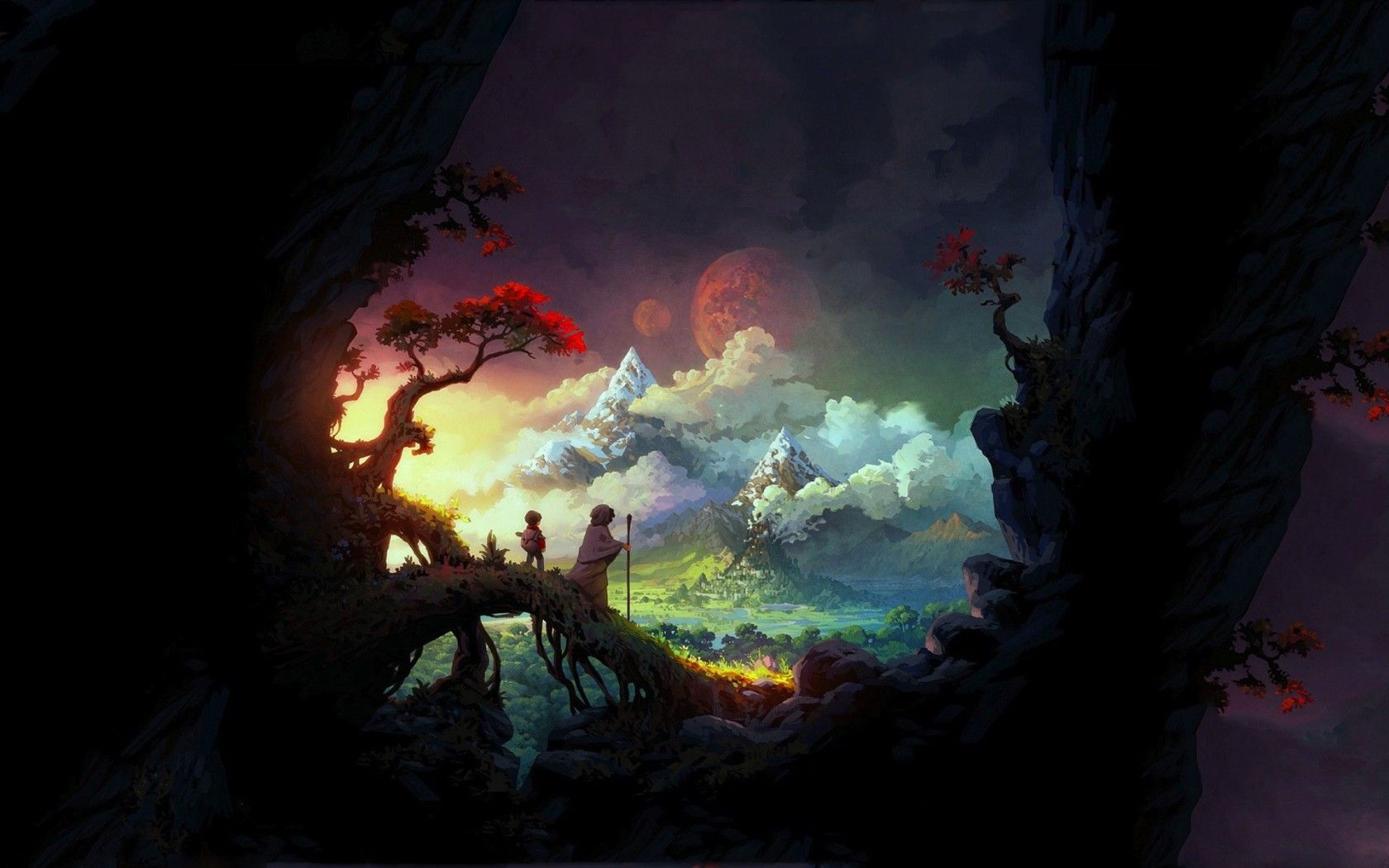 fantasy Hledat Googlem Digital wallpaper, Dark