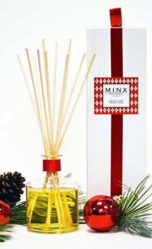 Holiday Cheer Essential Oil Reed Diffuser by MINX Fragrances  Red Currant Evergreen Balsam Fir  Juniper Notes  Enjoy this Festive Scent All Year Long  Love The Air You Breathe  USA Made ** Read more reviews of the product by visiting the link on the image.