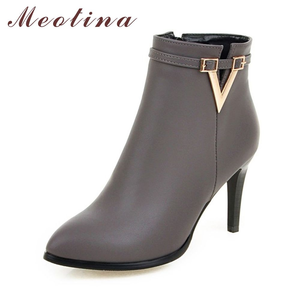 42c350efeae3 Meotina Women Shoes High Heel Ankle Boots Martin Boots Zip Fall Spring Pointed  Toe High Heels Lady Shoes Gray Big Size 10 40 43 Price  47.98   FREE  Shipping ...