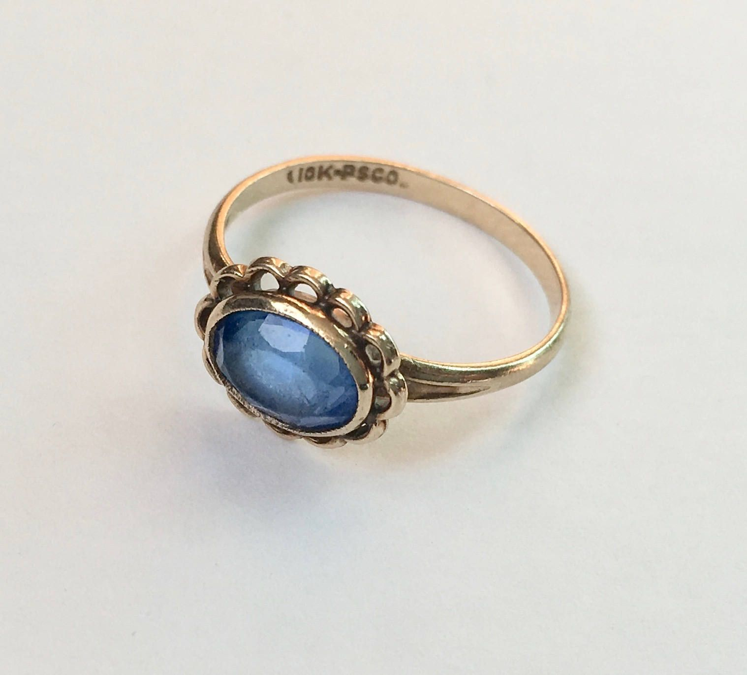 Vintage 10k Gold And Blue Stone Ring Size 6 25 Etsy Wide Band Diamond Rings Blue Stone Ring White Diamond Rings Engagement