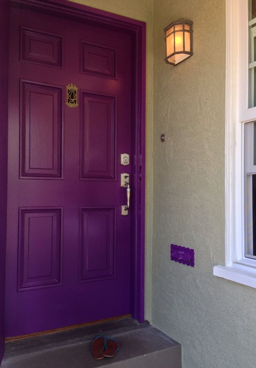 Bright Purple Painted Door On A Sage Green House Paint By