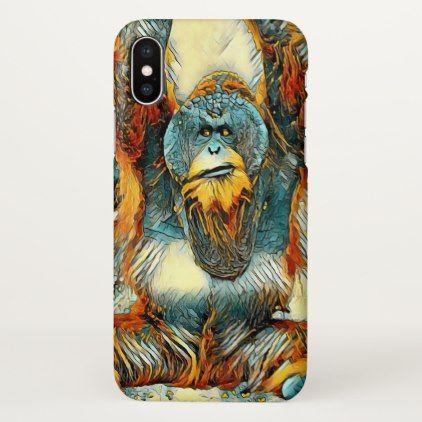 AnimalArt_OrangUtan_20170604_by_JAMColors iPhone X Case - portrait gifts cyo diy personalize custom