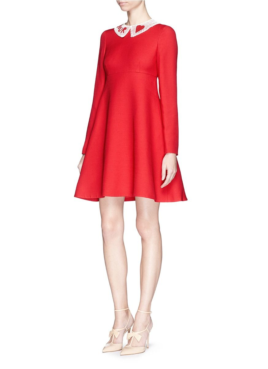Valentino Detachable Bead Collar Crepe Couture Dress in Red | Lyst