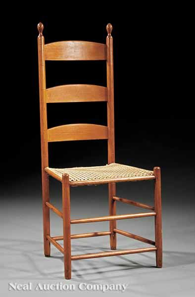 Shaker Ladder Back Chair Wicker Dining Room Chairs Indoor An American Maple Side C 1840 Elongated Finials On Tapering Stiles Square Seat Legs With Box Stretchers Feet Fitted