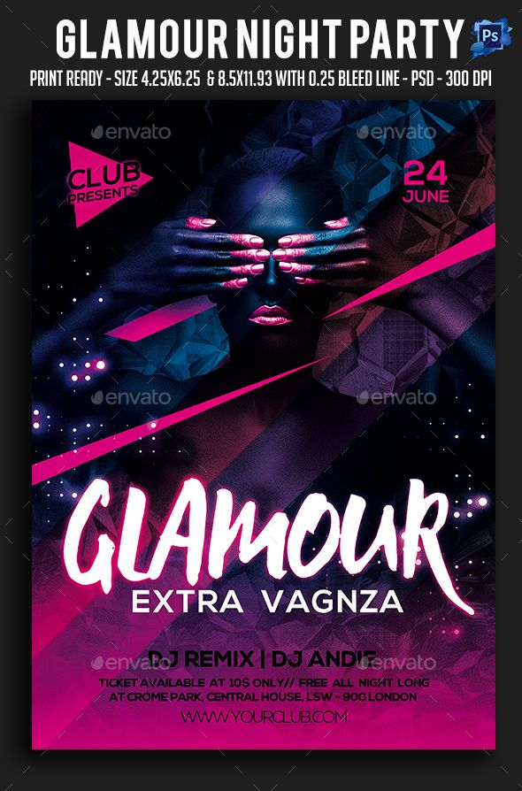 Glamour Night Party Flyer  Party Flyer Night Parties And Glamour