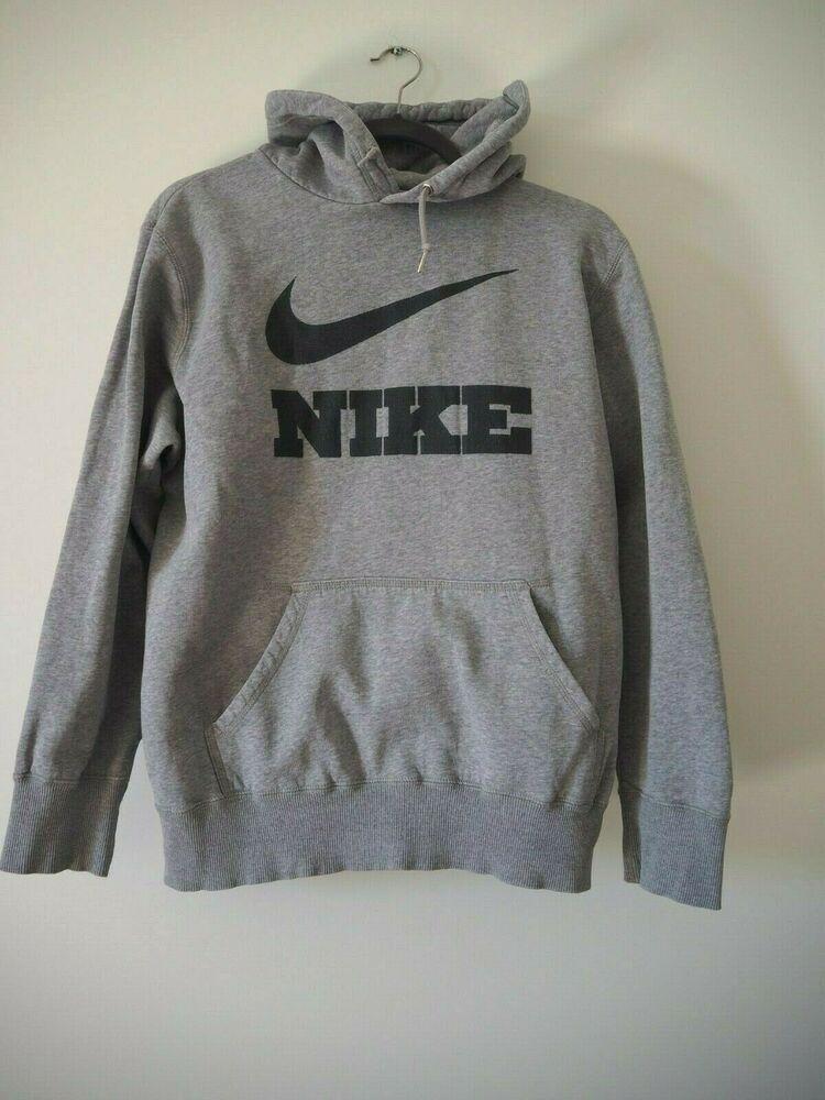 Vintage Nike Big Spell Out Logo Hoodie Sweatshirt Mens M Grey Black Pullover Nike Hoodie Sporty Fashion Mens Sweatshirts Sweatshirts Hoodie Casual T Shirts